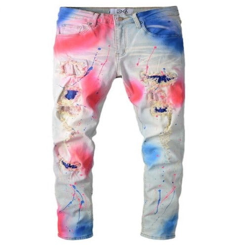 DNA-Paint Splatter Jeans-Blue