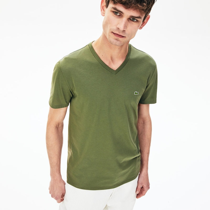 LaCoste-V-neck Pima Cotton T-shirt-Khaki Green • XZD-TH6710-51