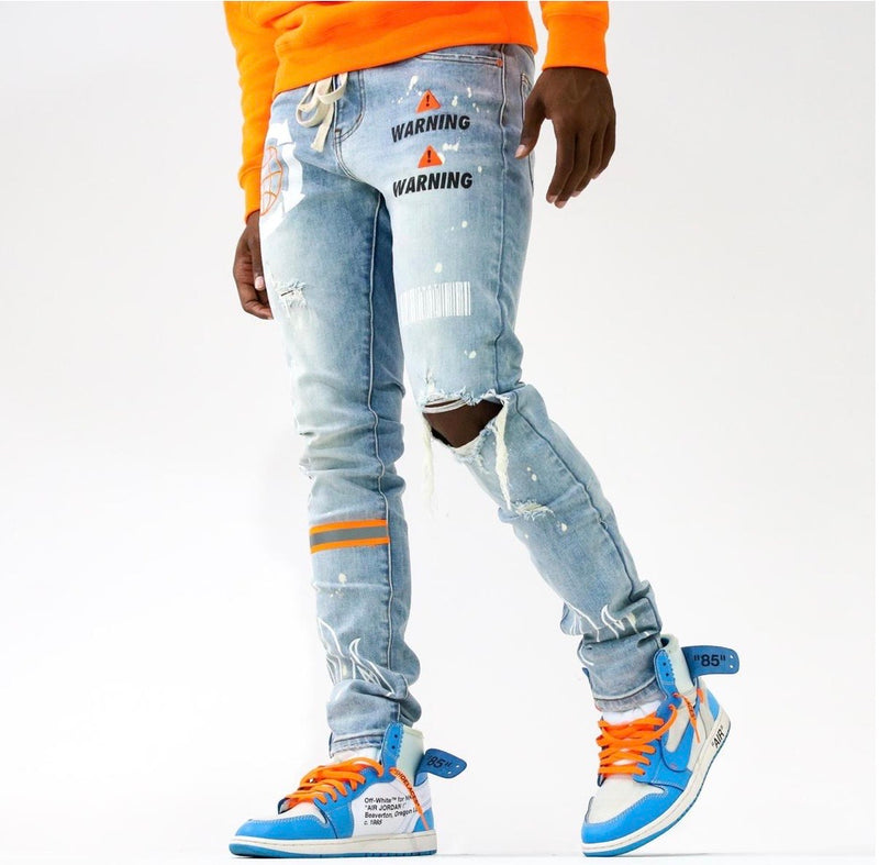 THRT-Hazard Orange Denim-Light Wash