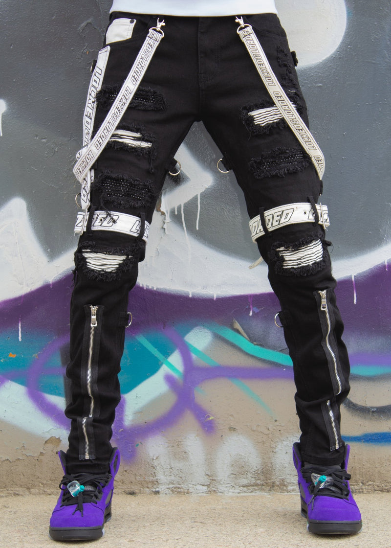 Locked & Loaded-Strap and Stones Denim-Black/White