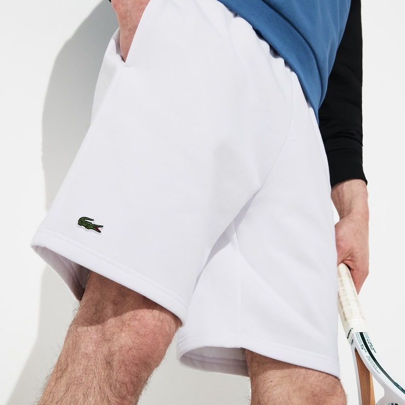 LaCoste-Men's SPORT Tennis Fleece Shorts-White • 001-GH2136-51