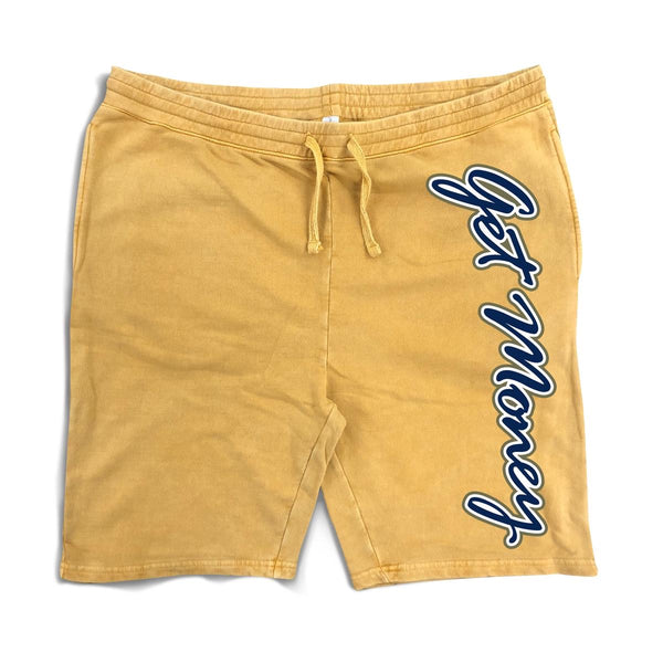 Hasta Muerte-Get Money Logo Shorts-Mustard