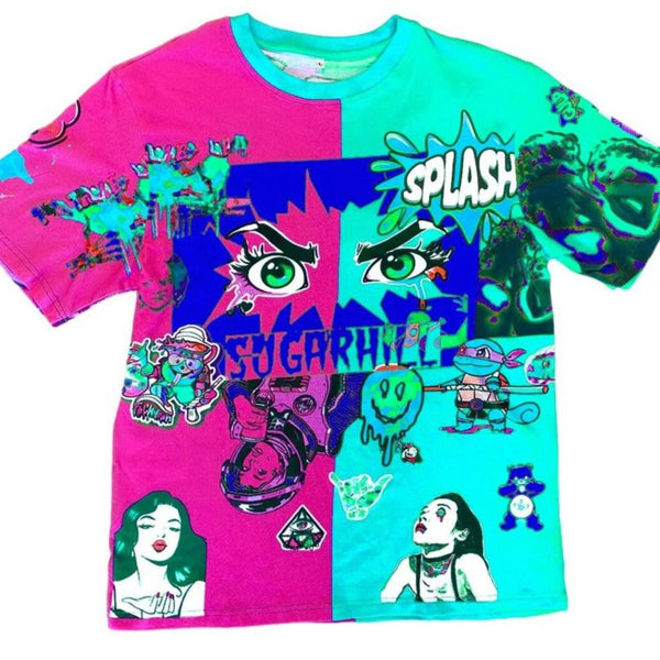 Sugarhill-Split Psycho Tee-Pink/Turquoise