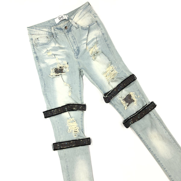 DNA-Strap Sapphire Crystal Jeans-Blue