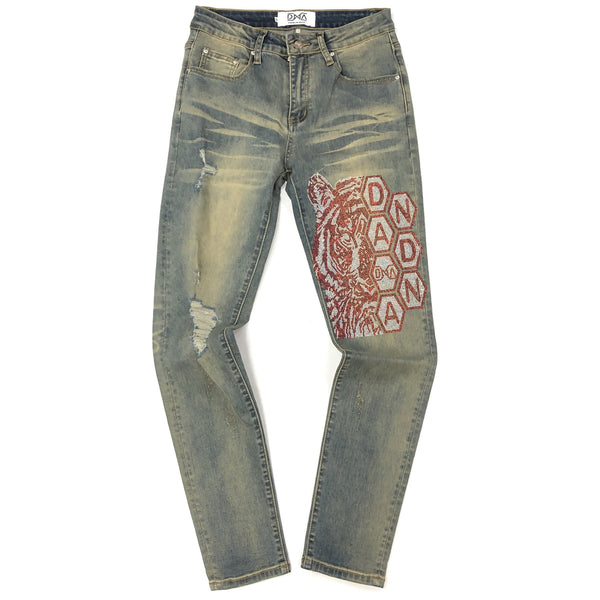 DNA-Red Crystal Tiger Jeans-Vintage Blue