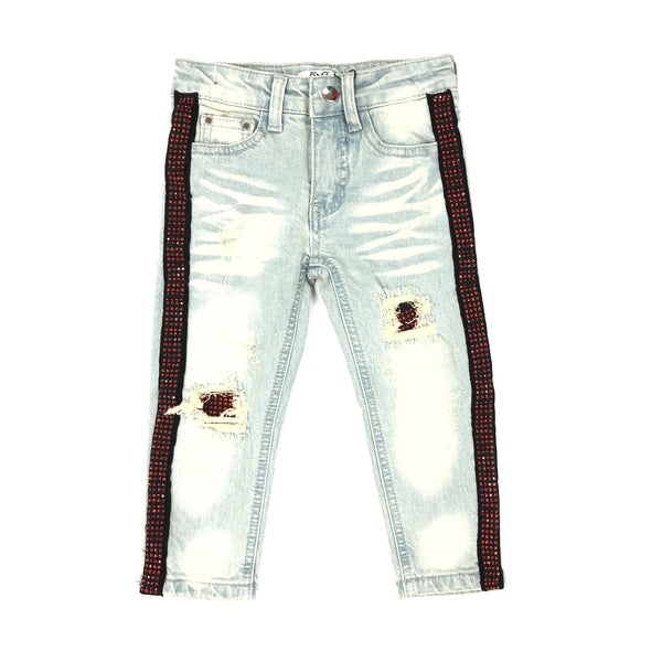 DNA Jeans-Kids Red Crystal Stiped Jeans-Blue