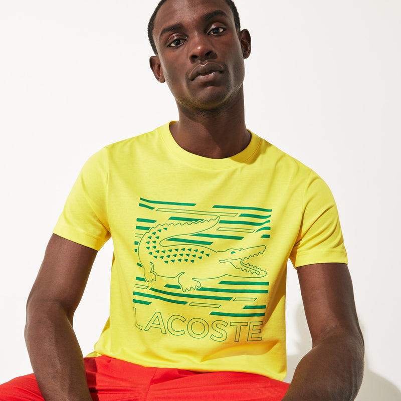 LaCoste-SPORT Ultra-Dry Graphic Tee-Yellow/Turquoise-TH4834-Y