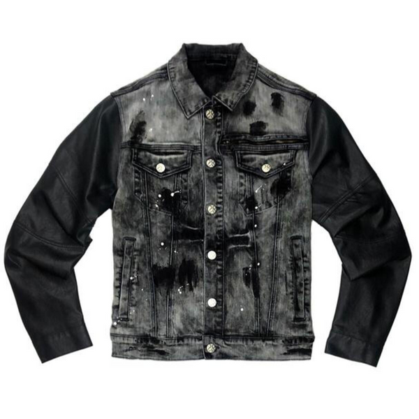 Create 2mrw-Rip & Repair/Faux Leather Trim Jacket-Black
