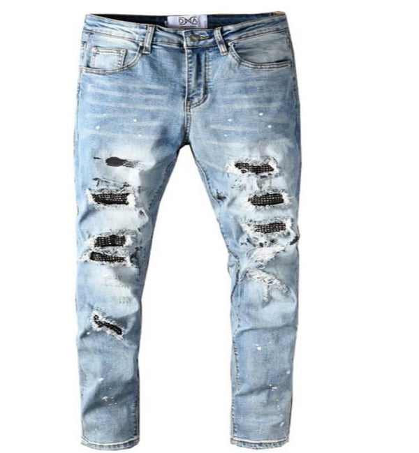 DNA-Black Splatter Denim Jeans-Blue