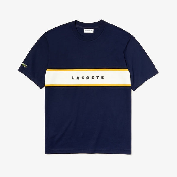LaCoste-Crew Neck Lacoste Lettered Piqué Panel Cotton T-shirt-Navy Blue • 166-TH4295