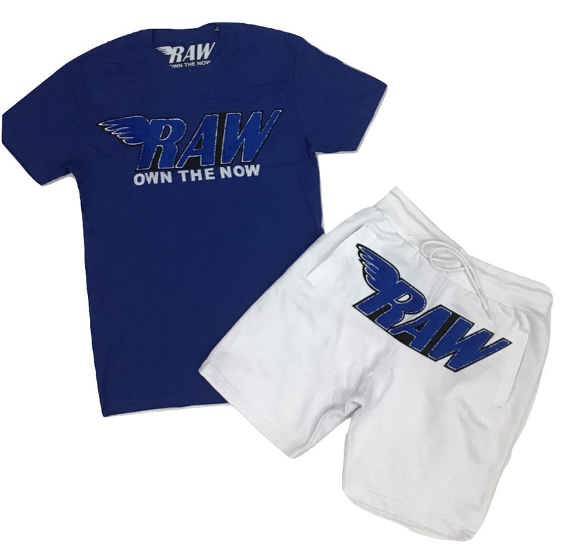 Rawyalty-Raw Chenille Crew Neck Set-Royal/White