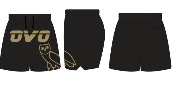 Headgear-OVO Drake Basketball Shorts-Black/Gold