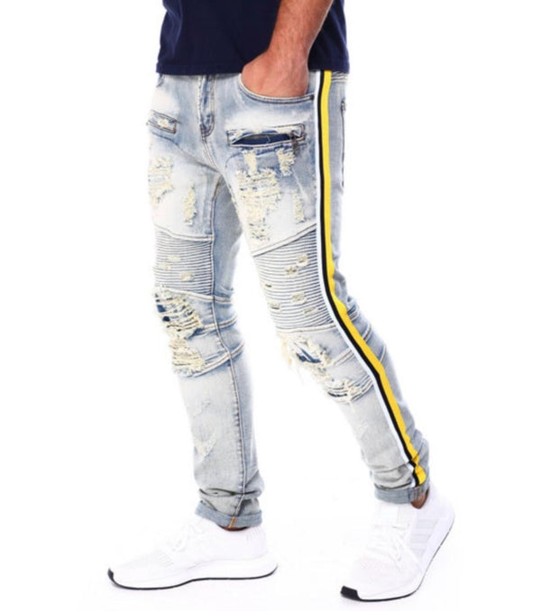 Preme-Motto Yellow Tape-Blue Indigo-PR-WB-243