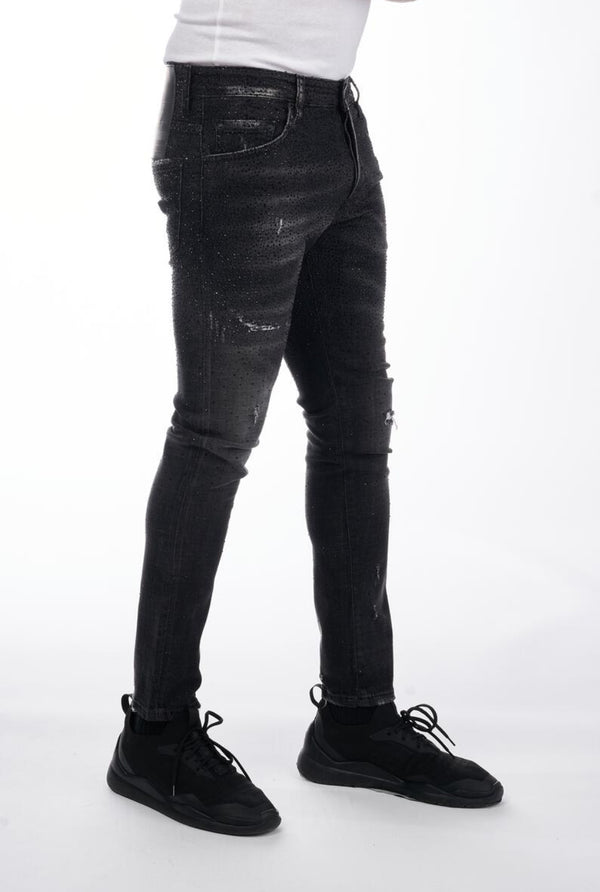 George V-Crystal Denim-Black/Black