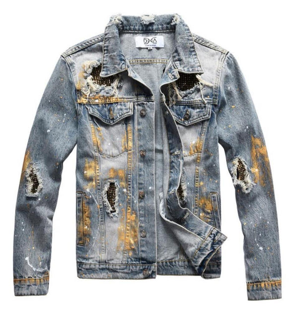 DNA-Gold Splatter Denim Jacket-Blue