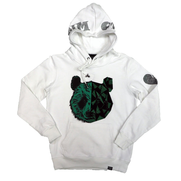 Denimicity-Split Bear Hoodie-White/Green