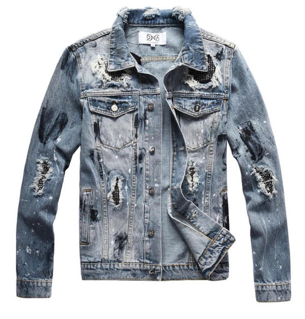 DNA-Black Splatter Denim Jacket-Blue