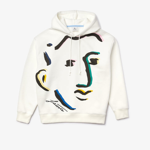 Lacoste-Men's Lacoste LIVE Loose Fit Face Design Hooded Fleece Sweatshirt-White • 2CQ-SH2164