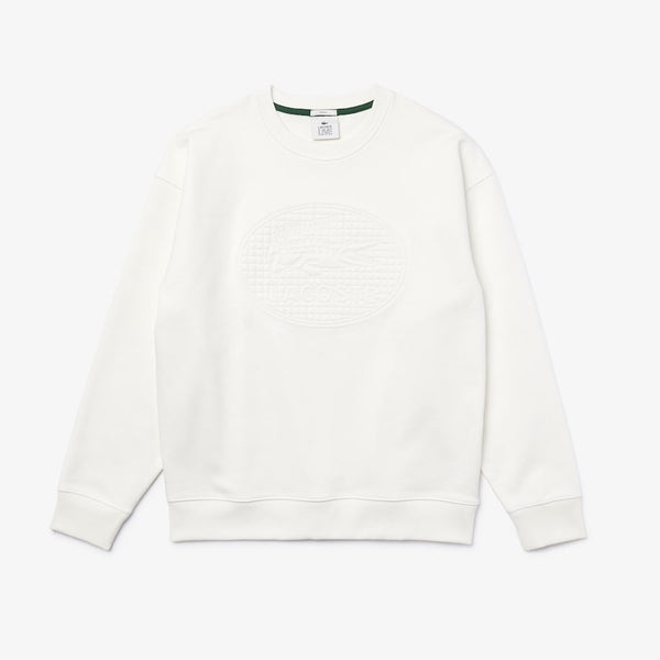 LaCoste-Unisex Lacoste LIVE Loose Fit Crew-White • 70V-SH1443