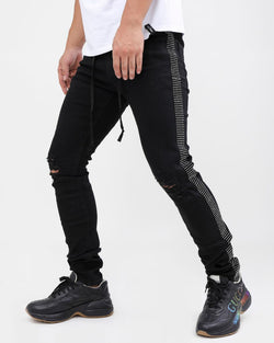 Eternity-Silver Stone Tape Jeans-Black