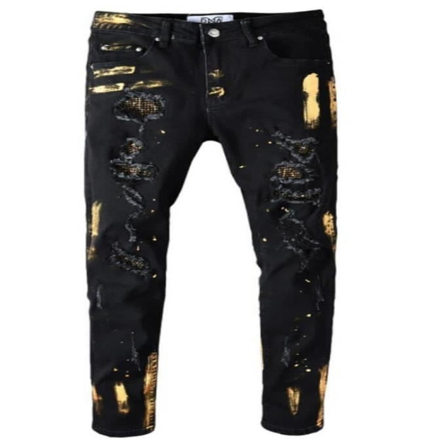 DNA-Gold Splatter Denim Jeans-Black