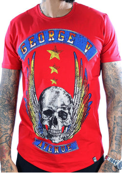 George V-Fly Skull Tee-Red