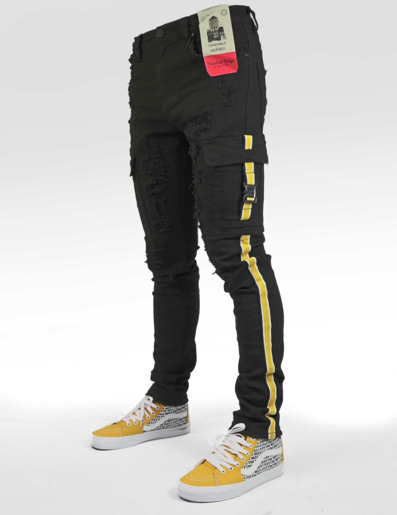 Industrial Indigo-Striped Cargo Jeans-Black/Yellow