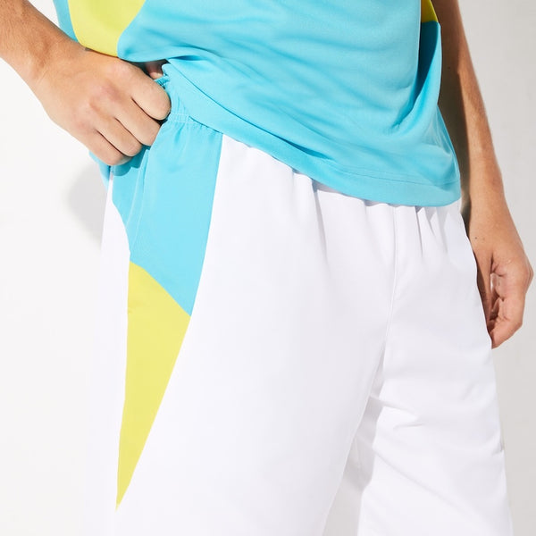 LaCoste-Men's SPORT Lightweight Colorblock Tennis Shorts-White/Turquoise/Yellow • XS6-GH8925