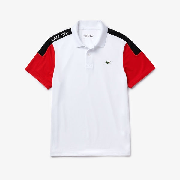 LaCoste-SPORT Breathable Resistant Piqué Polo-White/Red/Black • 5XT-DH4864