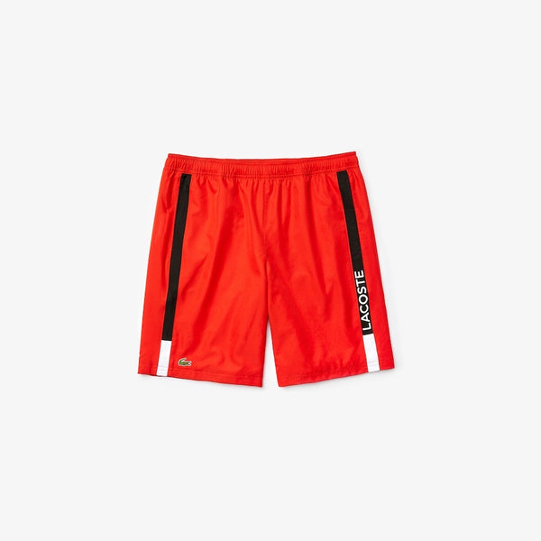LaCoste-SPORT Branded Contrast Striped Light Shorts-Red/Black/White • ATV-GH4860