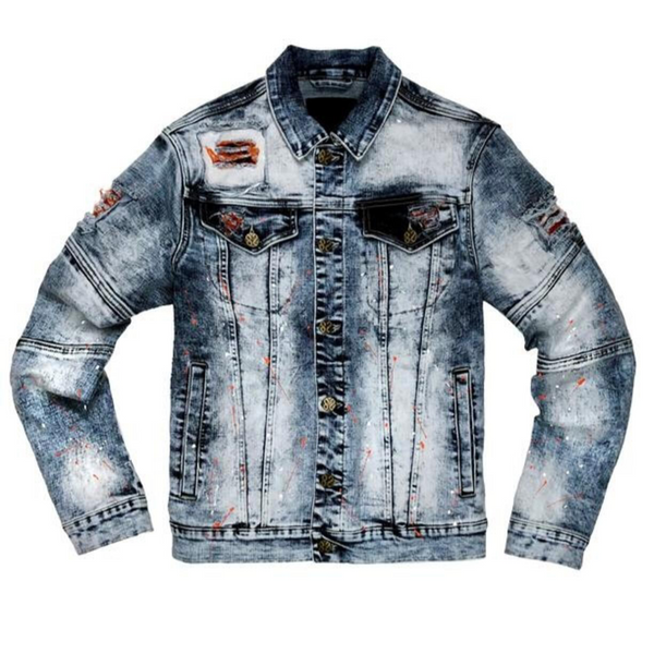 Create 2mrw-Rip & Repair/ Paint Splatter Jacket-Dark Indigo