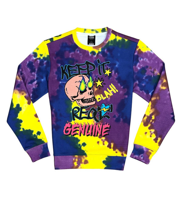 Genuine-Fire Skull Crewneck-Purple