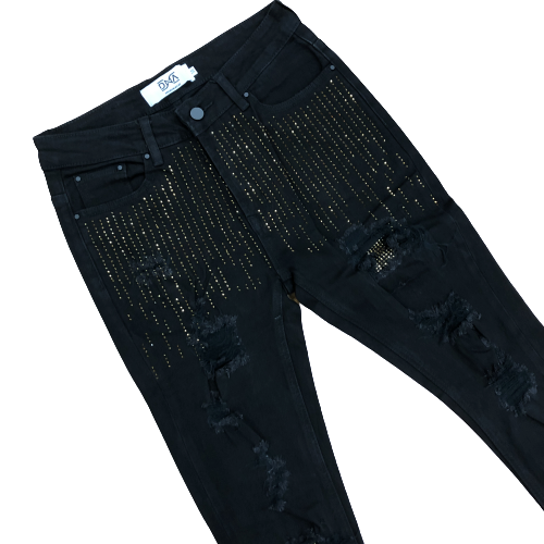 DNA-Drop Crystal Jeans Gold Stones-Black