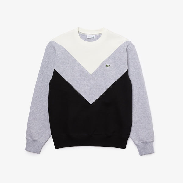 Lacoste-Colorblock Cotton Blend Crew Neck Sweatset-Black / Grey Chine / White • A7N