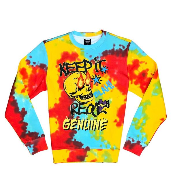 Genuine-Fire Skull Crewneck-Red