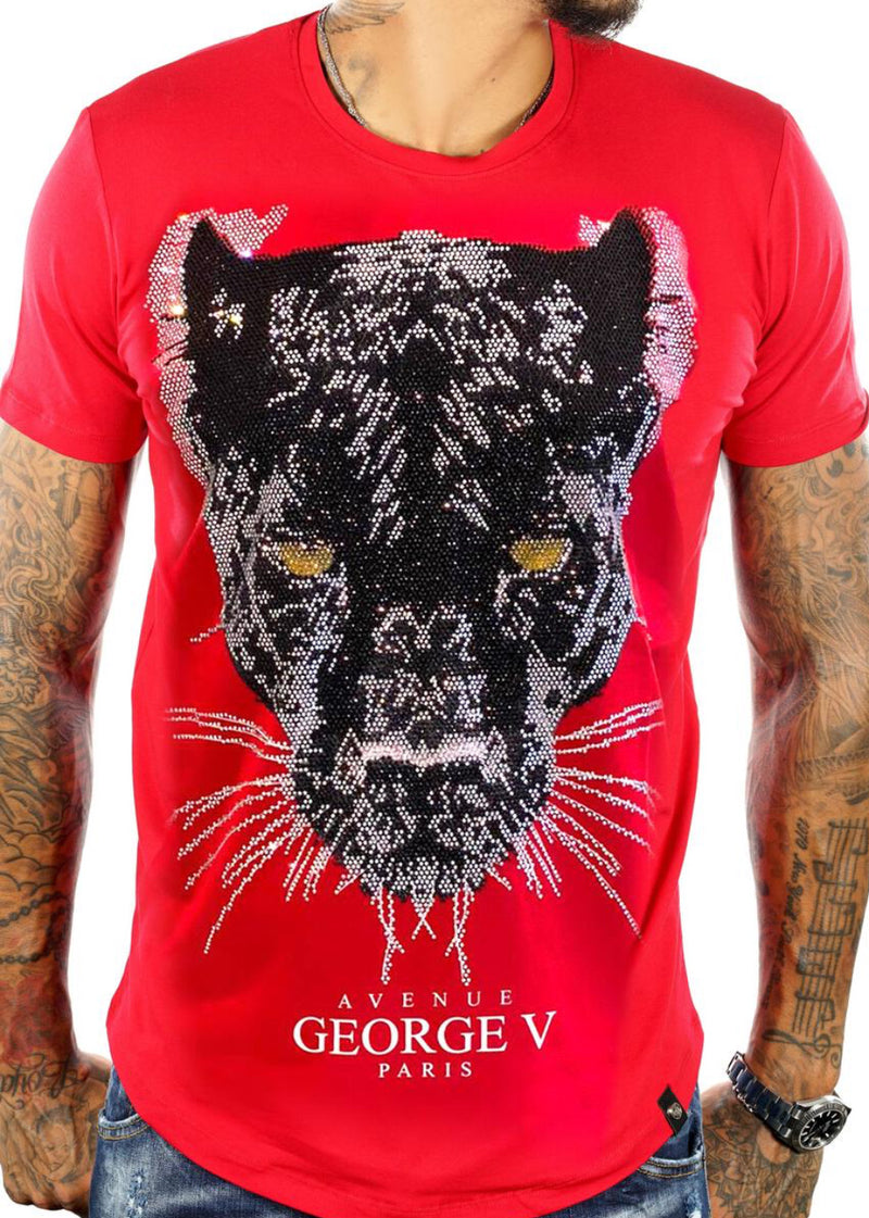 George V-Panther Face Tee-Red