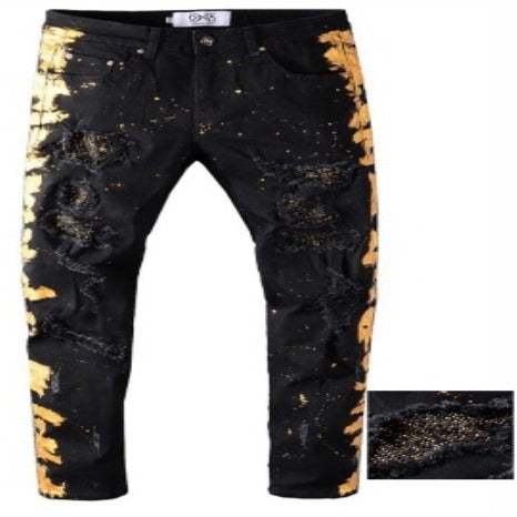 DNA-Gold Crystal/ Paint Splatter-Black