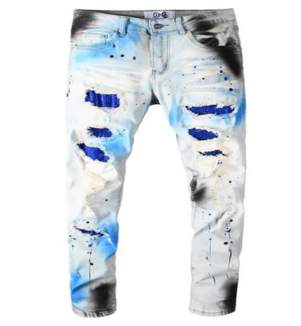 DNA-Blue Splatter Denim Jeans-Blue