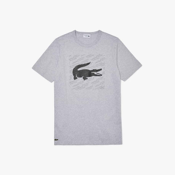 LaCoste-Men's SPORT Reflective Logo T-Shirt-Grey Chine/Black • Y5J-TH8384