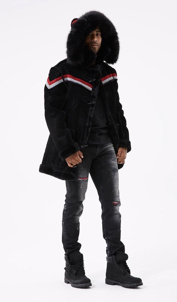 Jordan Craig-Shearling Jacket-Black-91380