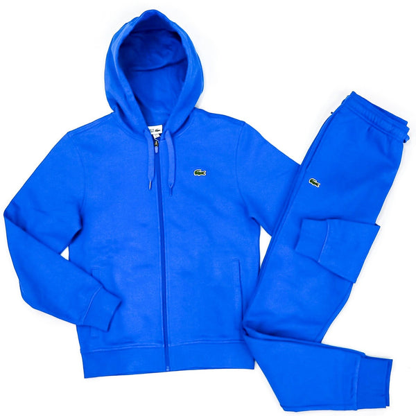 LaCoste-Men's SPORT Hooded Lightweight Bi-material Sweatset-Blue • qpt-Sh1551