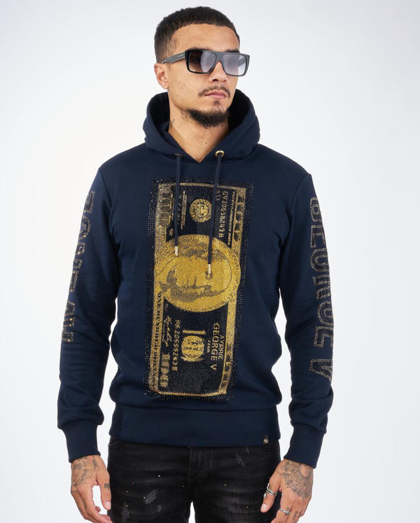 George V-Gold Benjamin Franklin Hoodie-Navy Blue