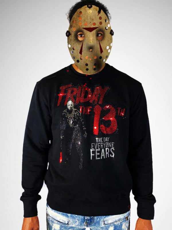 De Kryptic-Friday The 13th Black Rhinestoned Crewneck-Black