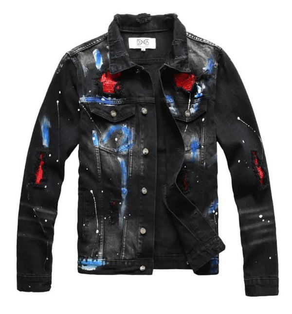 DNA-Blue/White Splatters Denim Jacket-Black