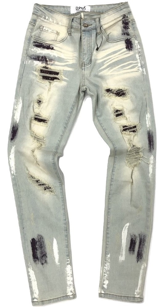 DNA-Purple Stone/Paint Splatter Jeans