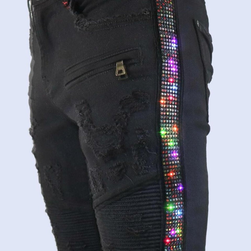 Preme Jeans-Multi Color Stone Jeans-Black-PR-WB-489