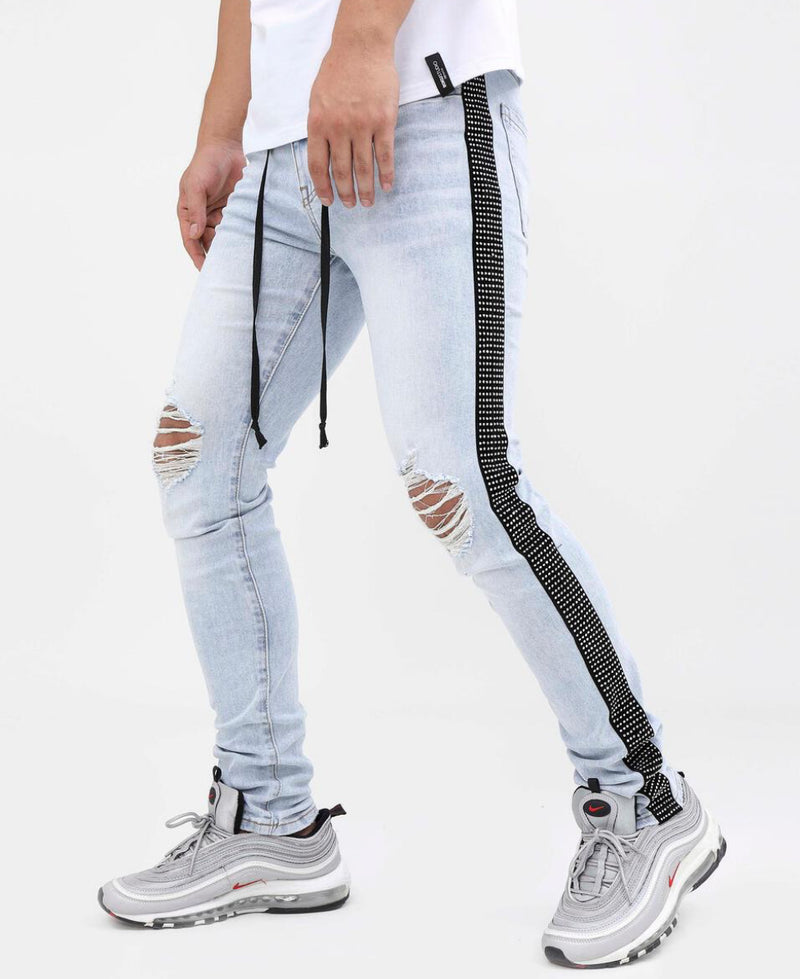 Eternity-Black Stone Taped Jeans-Light Wash