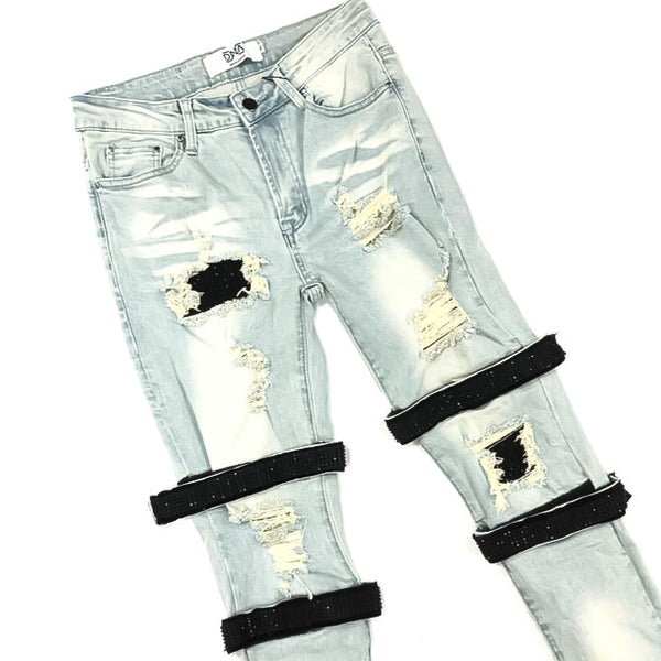 DNA-Strap Black Crystal Jeans-Blue
