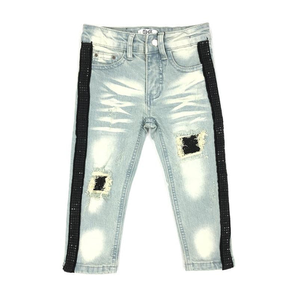 DNA Jeans-Kids Black Crystal Stiped Jeans-Blue