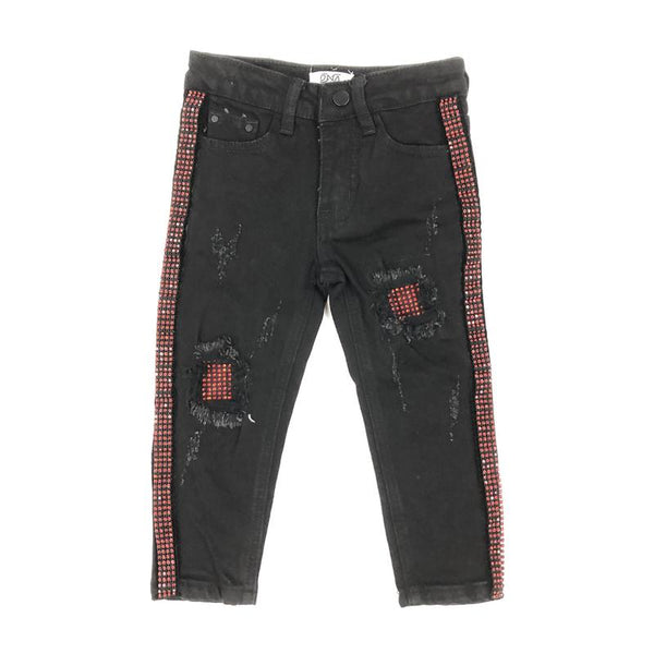 DNA Jeans-Kids Red Crystal Stiped Jeans-Black